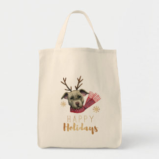 Christmas Reindeer Pit Bull with Faux Gold Fonts Tote Bag