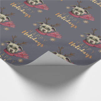 Christmas Reindeer Pit Bull with Faux Gold Fonts Wrapping Paper