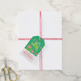 Christmas reindeer prancing over gifts green red gift tags