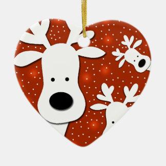 Christmas reindeer - red 2 ceramic heart ornament