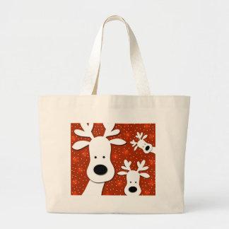 Christmas reindeer - red 2 large tote bag