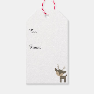 Christmas Reindeer Red Custom Gift Tags Pack Of Gift Tags