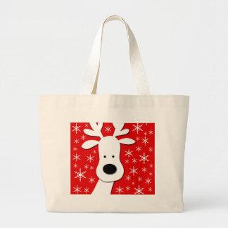 Christmas reindeer  - red large tote bag