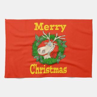 Christmas Reindeer reef. Hand Towels