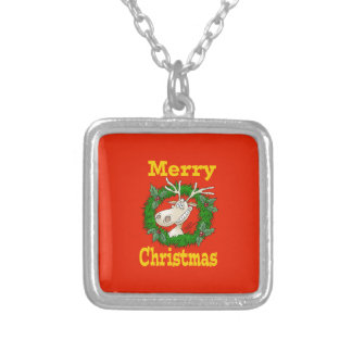 Christmas Reindeer reef. Silver Plated Necklace