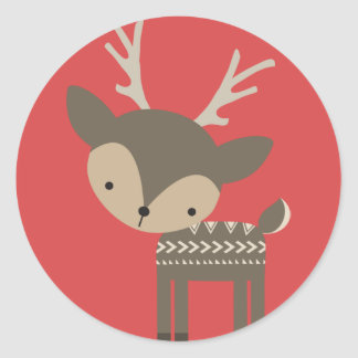 Christmas Reindeer Round Glossy Stickers