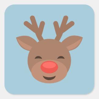 Christmas Reindeer Rudolf on Light Blue Square Sticker