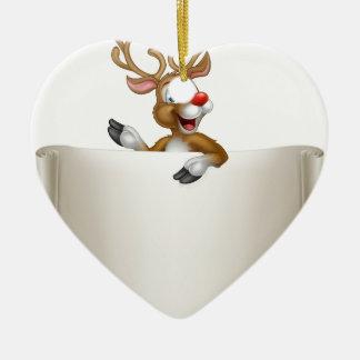 Christmas Reindeer Scroll Background Ceramic Heart Ornament