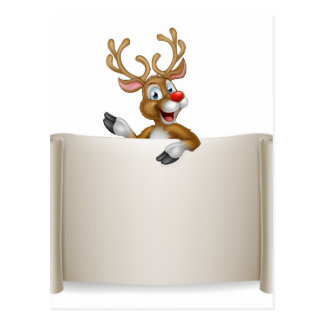 Christmas Reindeer Scroll Background Postcard