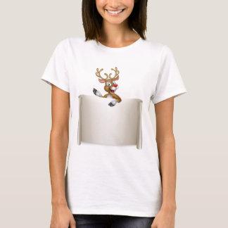 Christmas Reindeer Scroll Background T-Shirt