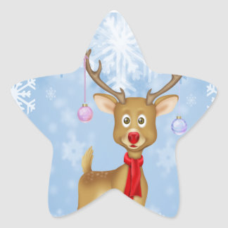 Christmas Reindeer Star Sticker