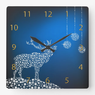 Christmas Reindeer & Stars Square Wall Clock