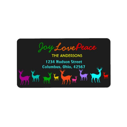 Christmas Reindeers Joy Love Peace Address Labels