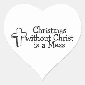 Christmas Religious Heart Sticker
