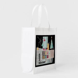 Christmas Retro Tree Reusable Grocery Bag