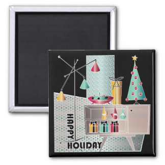 Christmas Retro Tree Square Magnet