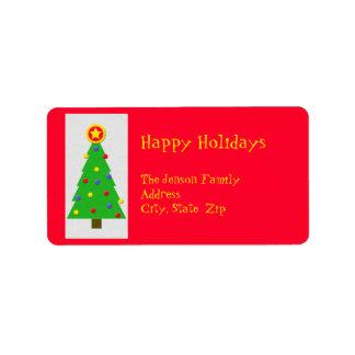 Christmas Return Address Label - Christmas Tree