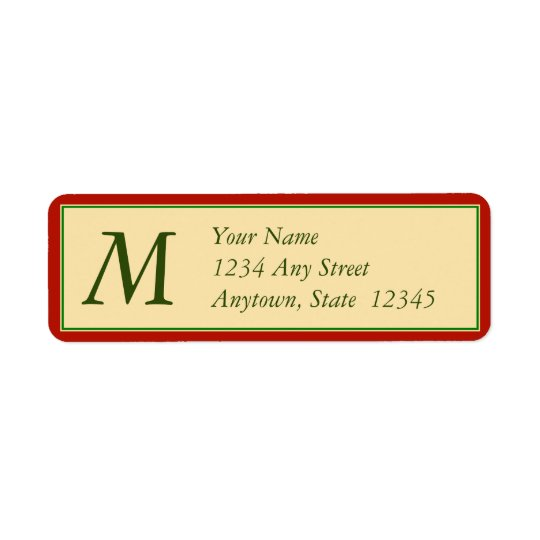 Christmas Return Address Labels w/ Monogram