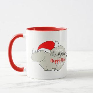 Christmas Rhino Cute Red Cartoon Funny Charming Mug