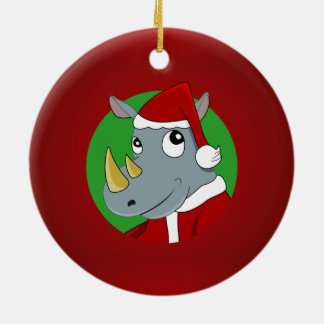 Christmas rhinoceros cartoon ceramic ornament