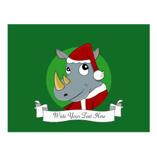 Christmas rhinoceros cartoon postcard