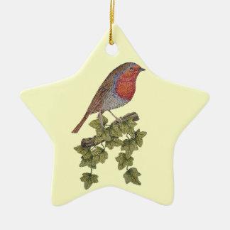 Christmas robin and holly original art Ornament