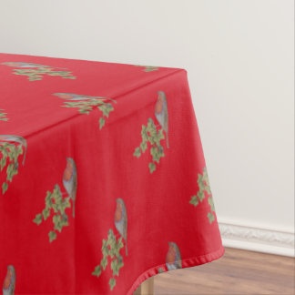 Christmas Robin and ivy leaves illustration Tablecloth