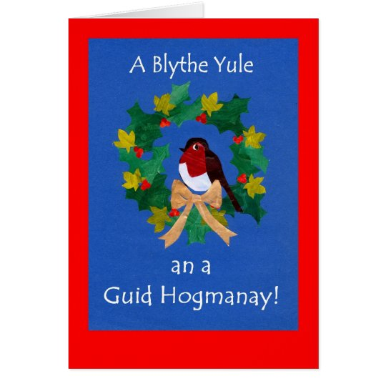 Christmas Robin Card with Scots Greeting