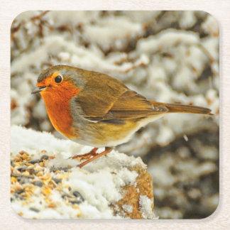 Christmas Robin in the Snow in Scotland Square Paper Coaster
