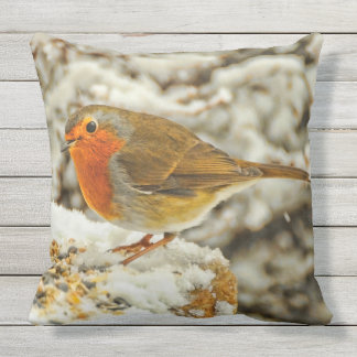 Christmas Robin in the Snow in Scotland Throw Pillow