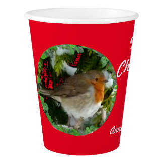 Christmas Robin Paper Cup