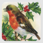 Christmas Robin Vintage Illustration Square Sticker