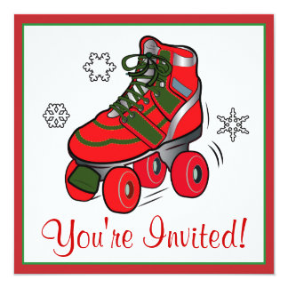 Christmas Roller Skating Party Card