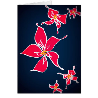 Christmas Rose - blue background Card