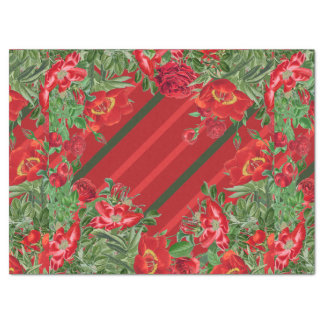 Christmas Rose Peony Flowers Floral Tissue Paper