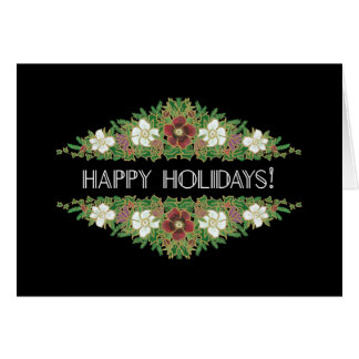 Christmas Roses, Hellebores, Happy Holidays Black Card