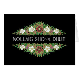Christmas Roses, Hellebores, Irish Gaelic Language Card