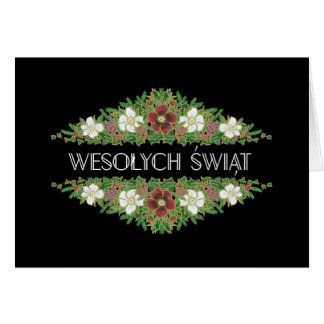 Christmas Roses, Hellebores, Polish Language Card