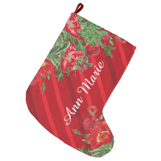 Christmas Roses Peony Flowers Stripes Stocking