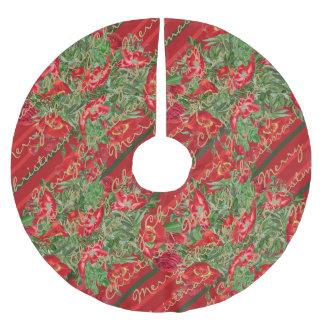 Christmas Roses Peony Flowers Stripes Tree Skirt Brushed Polyester Tree Skirt