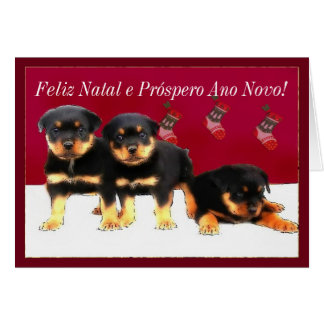 Christmas Rottweiler puppies Greeting Card