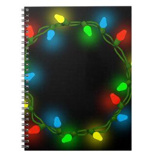 Christmas round lights spiral notebook