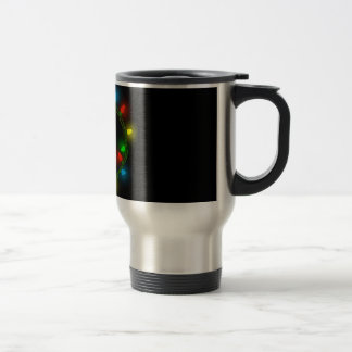Christmas round lights travel mug