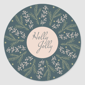 Christmas Round Sticker. Holly Jolly. Classic Round Sticker