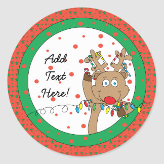 Christmas Round Stickers Rudolph Personalize