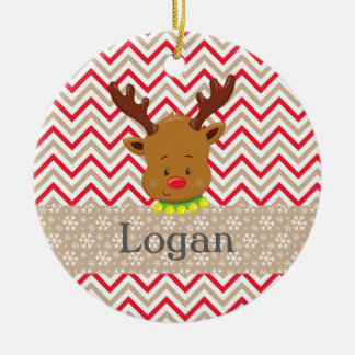 Christmas Rudolf Red Chevron Snowflakes Ornament