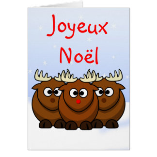 Christmas Rudolf the Reindeer in French Language Greeting Card