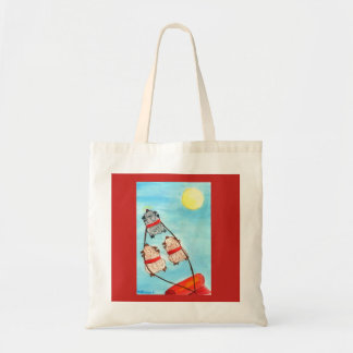 Christmas rudolph ewe leading santa's sleigh. tote bag