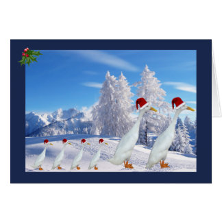Christmas runner duck greeting card