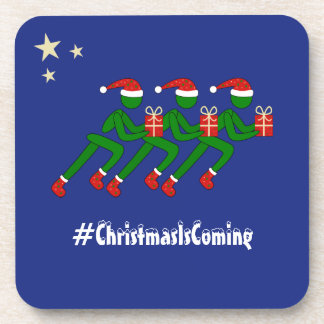 Christmas runners custom text blue coaster